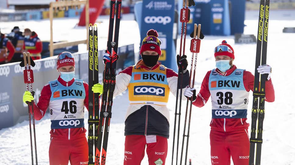 Лыжники Андрей Мельниченко, Александр Большунов и Артем Мальцев