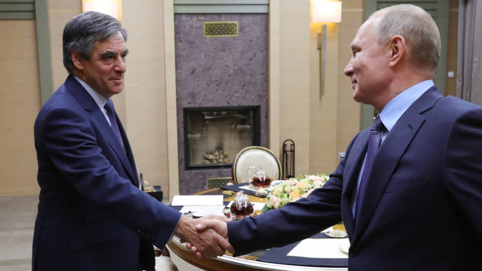 Президент России Владимир Путин и бывший премьер-министр Франции Франсуа Фийон (2018 год)