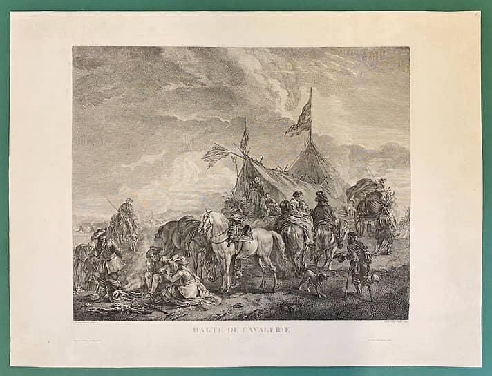 Жак-Филипп Ле Ба. «Привал кавалерии». Гравюра