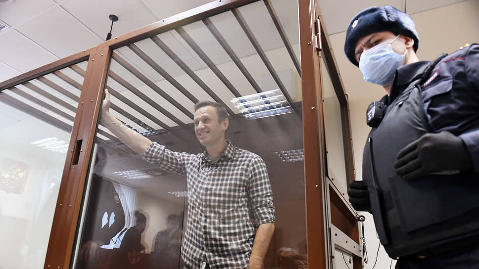 Алексей Навальный на заседании Бабушкинского районного суда в феврале 2021 года