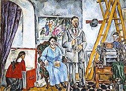 Петр Кончаловский. «В мастерской. Семейный портрет»., масло. 1917