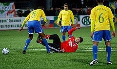 Напористый футболист Кадыров заработал пенальти в штрафной соперника