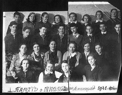Когда началась война, Лена Мухина (третья в верхнем ряду слева) заканчивала 8-й класс.