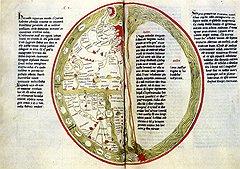"""Схематическая карта мира из """"Цветистой книги"""" Ламберта из Сент-Омера (Франция, XV век)"""