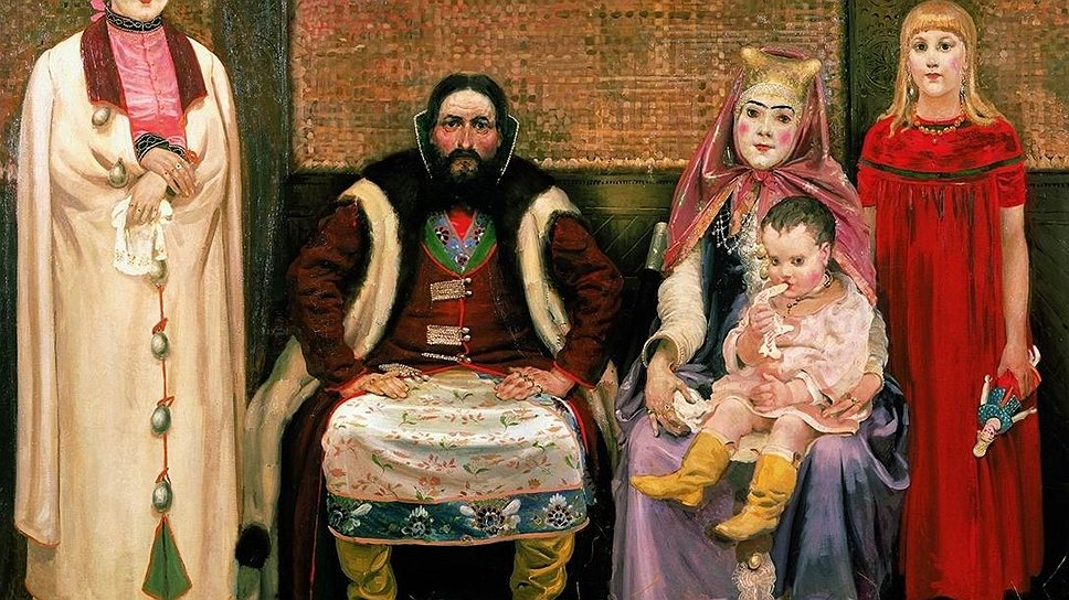 На картине Андрея Рябушкина мать семейства являет собой образец тогдашней купеческой красоты: лицо набелено, щеки нарумянены, брови нарисованы от души