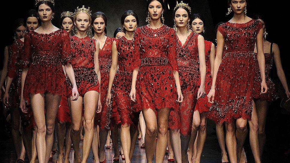 Зимняя коллекция D&G сезона 2013/2014 года на миланской неделе моды