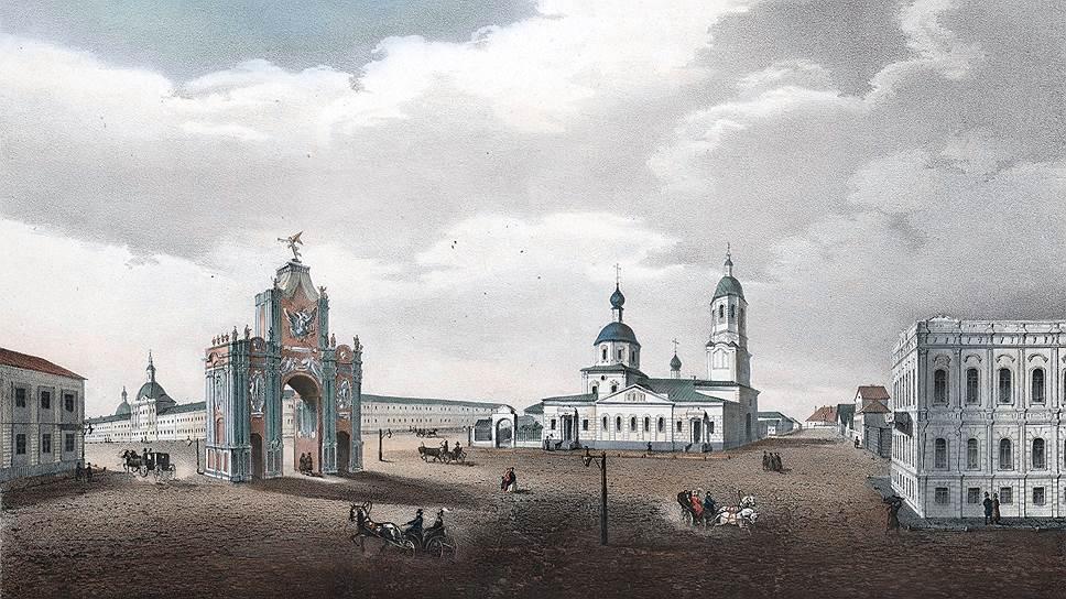 Площадь Красных Ворот. Слева — дом, где родился Лермонтов. Рисунок Д. Струкова