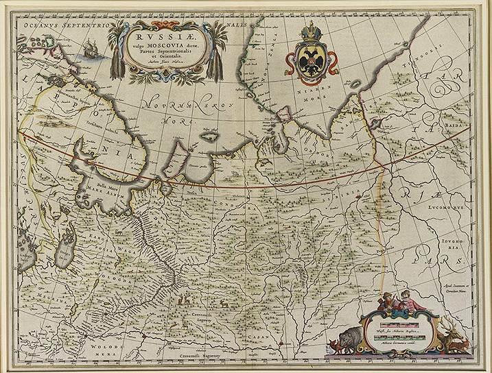 """Карта """"Россия, обычно именуемая Московией, части северная и восточная"""". Голландия, 1650 год"""