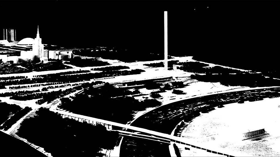 Эскиз монументального проекта полувековой давности впечатляет: на первом плане — памятник Ленину, за ним — стела высотой 300 метров, и все это на одной линии с главным зданием МГУ