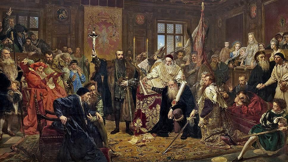 """Ян Матейко, """"Люблинская уния"""". Так назывался государственный союз между Королевством Польским и Великим княжеством Литовским, который положил начало Речи Посполитой. Картину под таким названием художник написал в 1869 году, к 300-летию объединения, когда своего государства ни у поляков, ни у литовцев не было"""