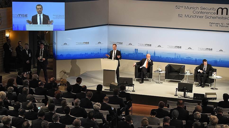 Президент РФ в Мюнхен не поехал. Но премьер на конференции выступил