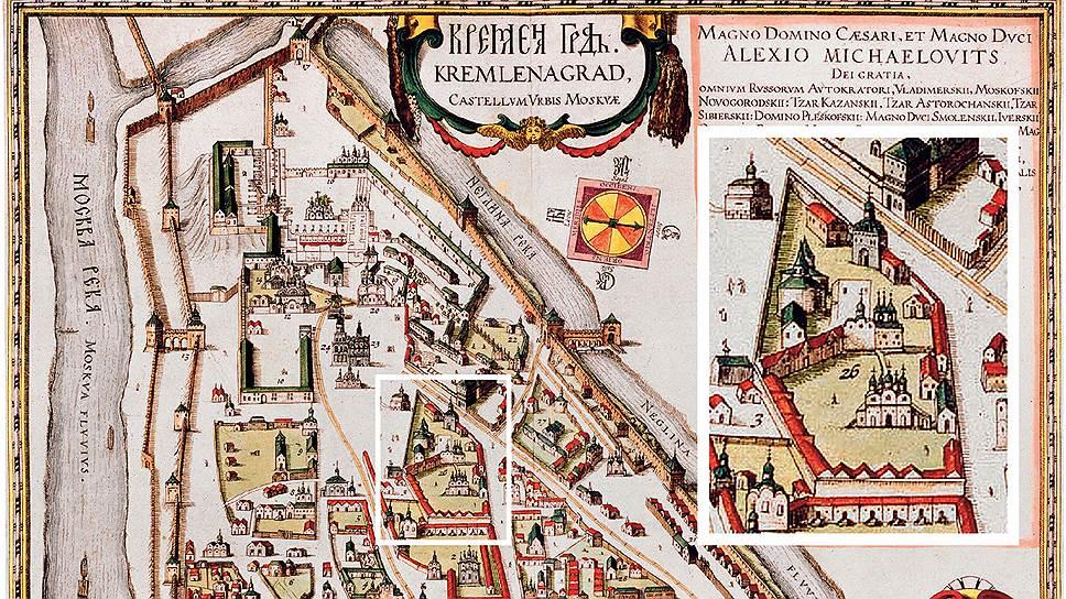 Известный план Московского Кремля, датируемый началом XVII века (времена царствования Бориса Годунова) и позднее, уже в 1662 году, включенный в атлас голландца Яна Блау. На нем Чудов монастырь (см. увеличенный фрагмент справа) представляет собой фактически центр крепости