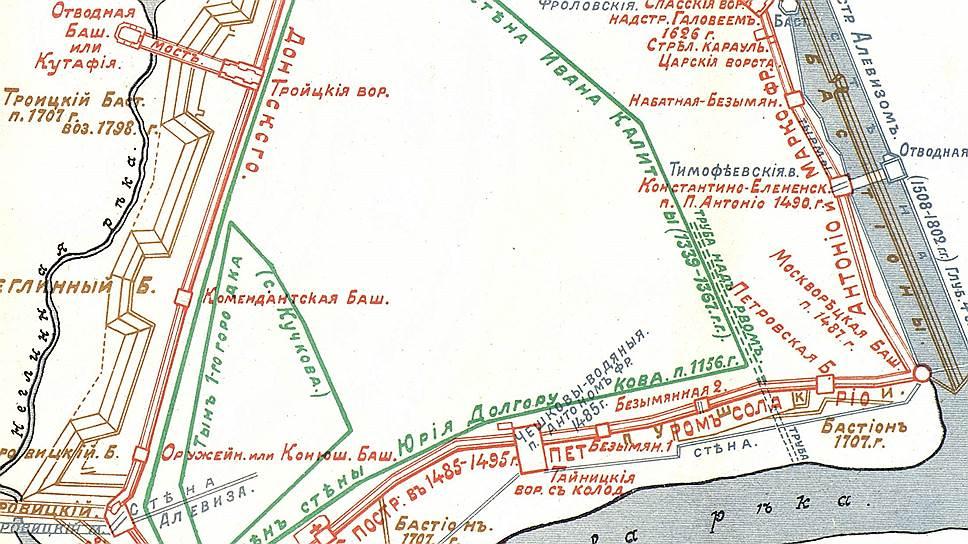 На этой карте видно, как разрастался Кремль от основания до XXвека