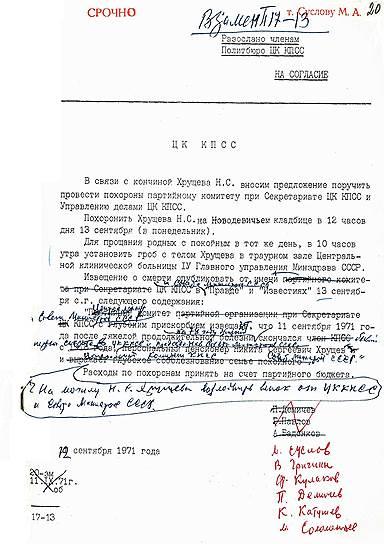 Этот документ отражает следы аппаратной борьбы над гробом бывшего лидера