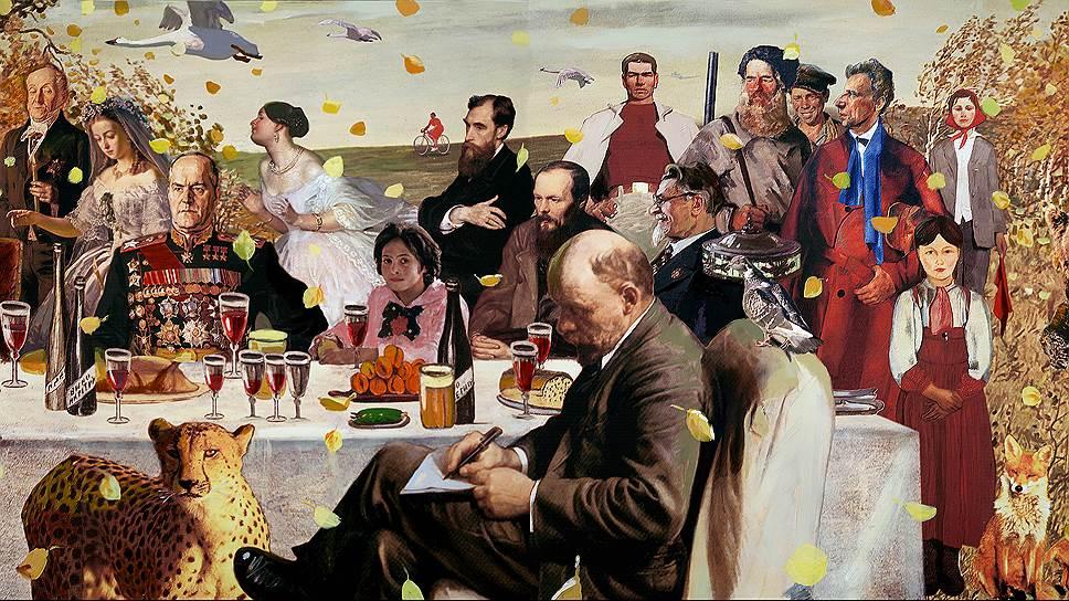 Российская история сегодня строится по принципу коллажа: берется все грандиозное, убирается все запутанное, так же как на картине Александра Виноградова и Владимира Дубосарского