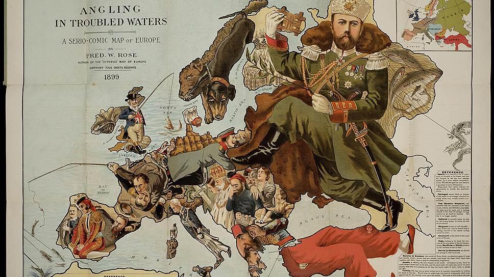 """Сборник комических карт конца XIX века называется """"Рыбалка в мутной воде"""" и тиражирует расхожие представления о европейских странах. Сапог русского царя, попирающий остальные народы,— это про нас"""