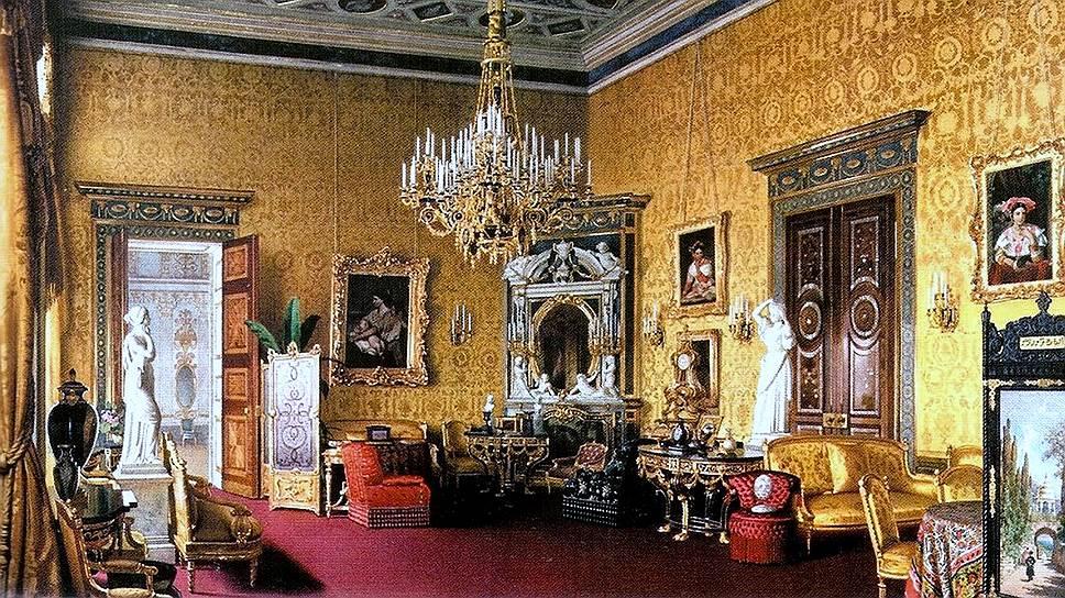 Лучше всего Лионский зал Екатерининского дворца сохранился на акварели Луиджи Премацци (1878)