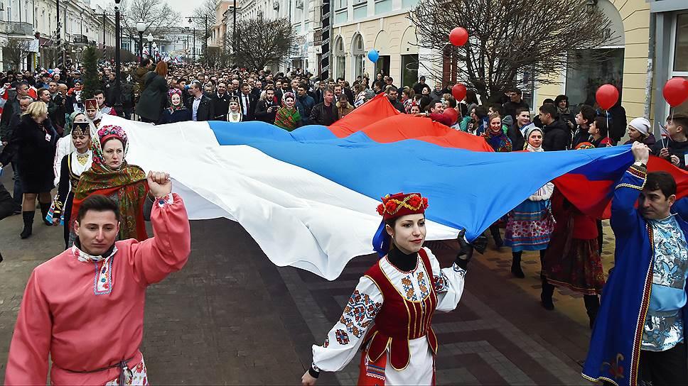«Крым выбрал будущее» -- под этим лозунгом на полуострове отметили годовщину референдума