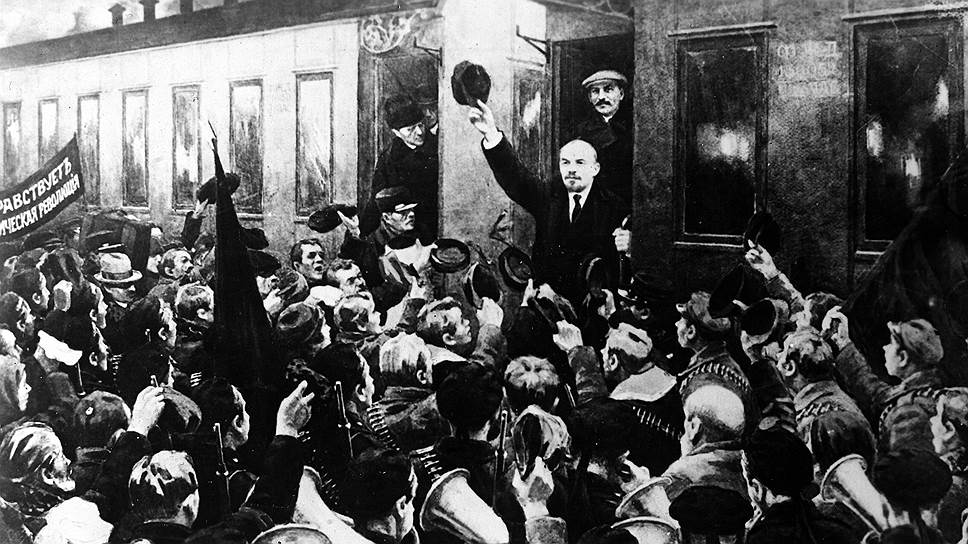 Канонический советский лик: Ленин триумфально возвращается из эмиграции. Но в этой картинке неправда-- в пломбированный вагон «подселили» Сталина, которого там на самом деле не было. Абыло ли все остальное?