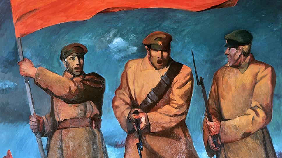 """Картина Индулиса Зариня """"Песня"""" (латышские красные стрелки) была представлена на выставке """"50-летие Великого Октября"""""""