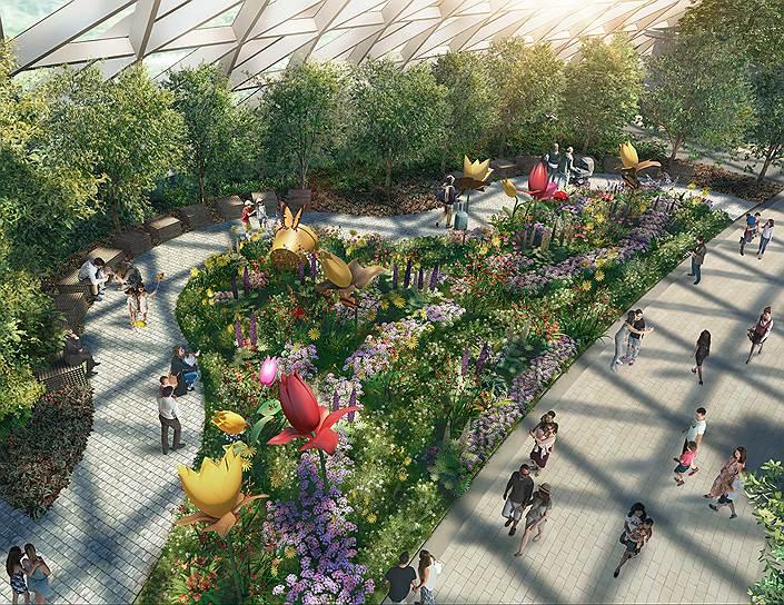 В пятиуровневой лесопарковой зоне аэропорта будущего высадят тысячи деревьев из разных климатических поясов