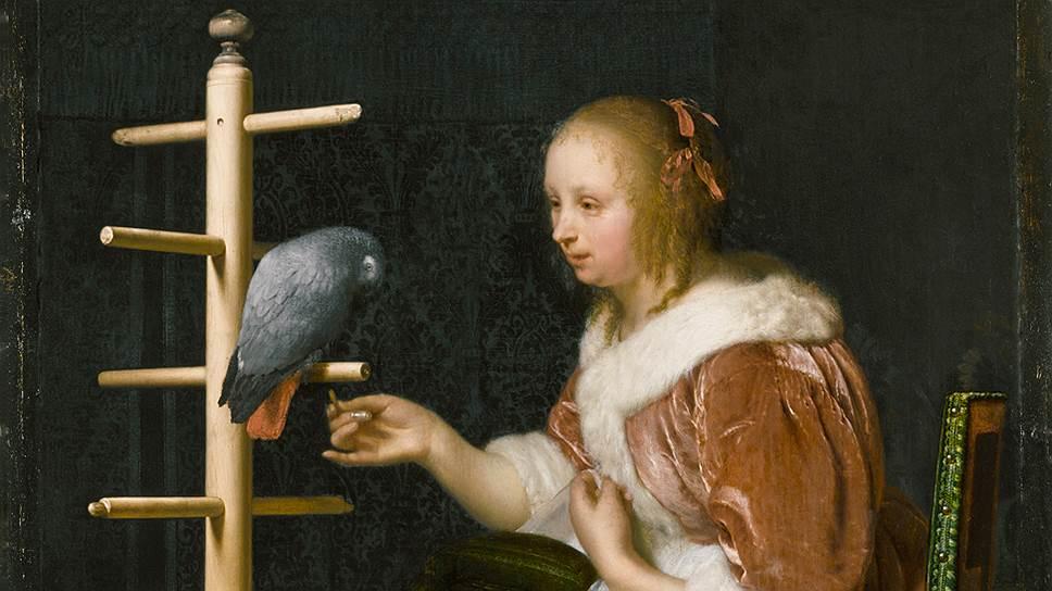 """Франс ван Мирис Старший. """"Дама с попугаем"""". 1663год"""