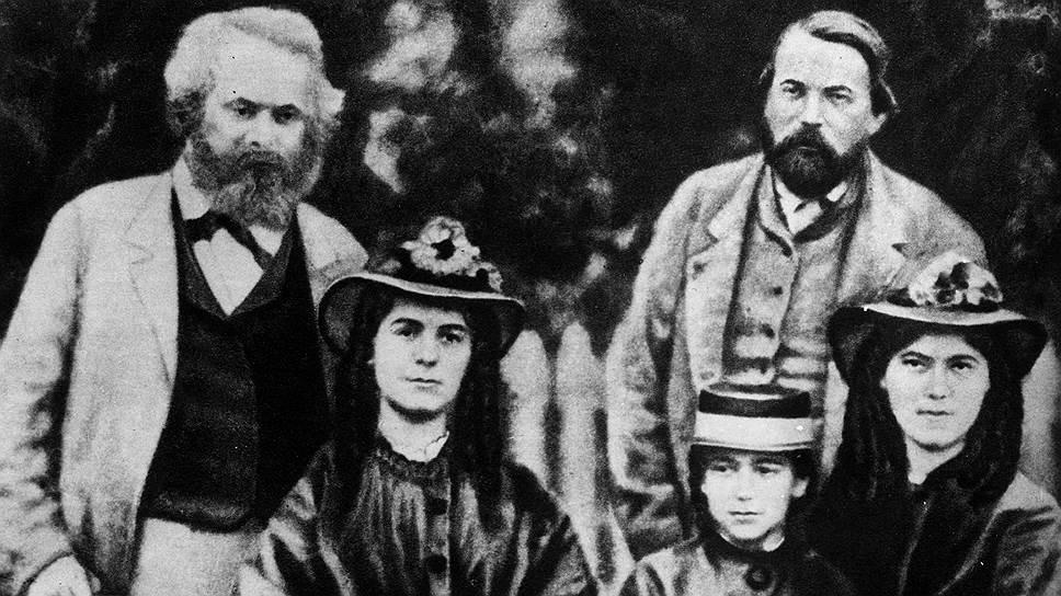 Карл и Женни Маркс с детьми и другом семьи Фридрихом Энгельсом. 1870