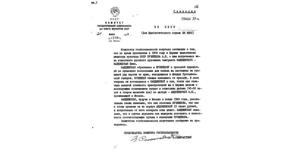 Записка о конфликте вдовы Кандинского и замминистра культуры СССР