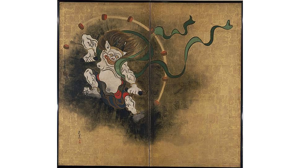 Огата Корин (1658–1716). «Бог ветра и бог грома». Парные двустворчатые ширмы