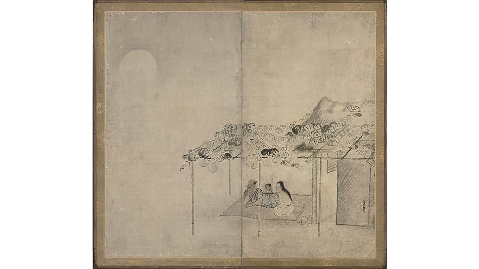 Кусуми Морикагэ (около 1620–1690 (?)). «Любовники, наслаждающиеся вечерней прохладой». Двустворчатая ширма