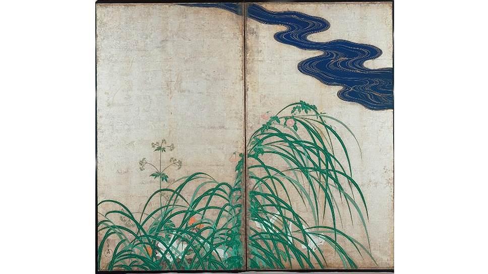 Сакаи Хоицу (1761–1828). «Летние и осенние травы». Парные двустворчатые ширмы