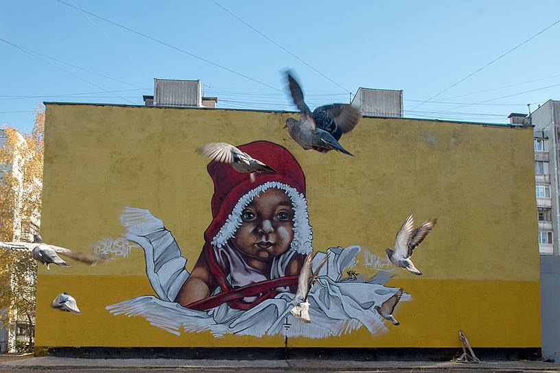 Рисунки Виктора Лебедева можно найти на многих городских объектах