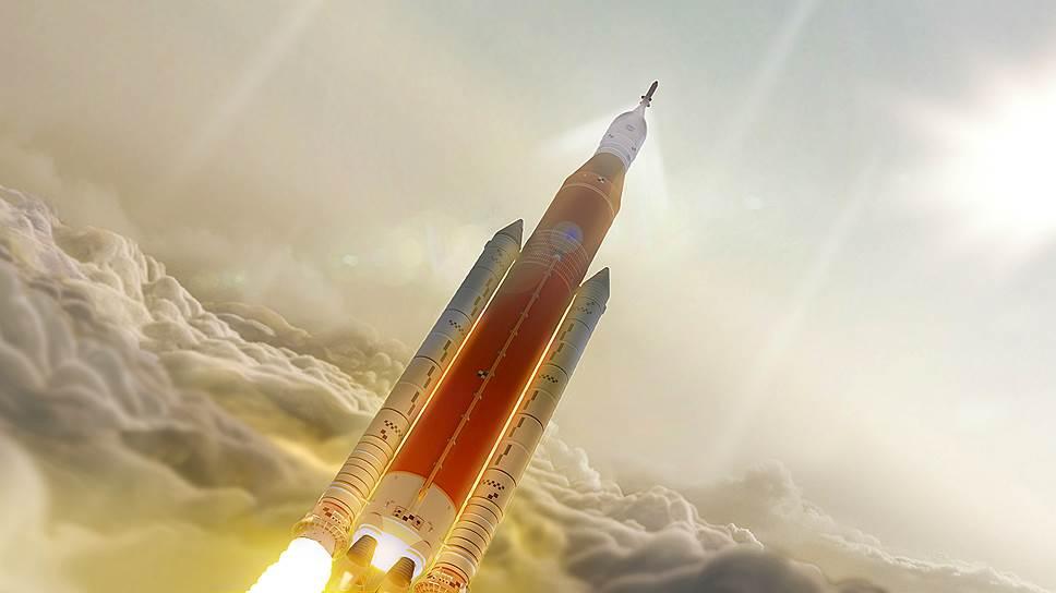 На Марс человека обязан доставить новый корабль, способный обернуться туда и обратно за полгода. Между тем последняя разработка американской ракеты-носителя SLS (ее графический концепт — на фото) таких скоростей развить пока не в состоянии
