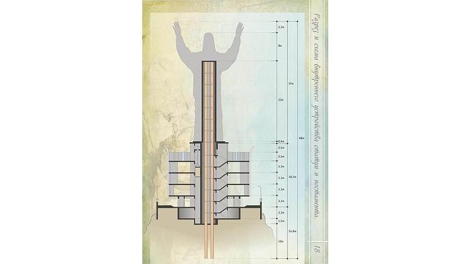 Так на макете выглядит 68-метровый Христос в разрезе