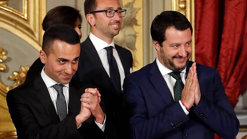 Считается, что на строительство «новой Европы» Бэннона вдохновил итальянский пример. На фото — вице-премьеры Ди Майо («5 звезд») и Сальвини («Лига») при рождении нового кабинета