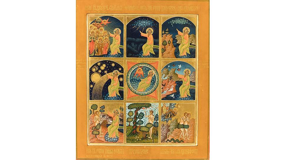 Икона «Сотворение мира». Начало ХХ века. Мстёра