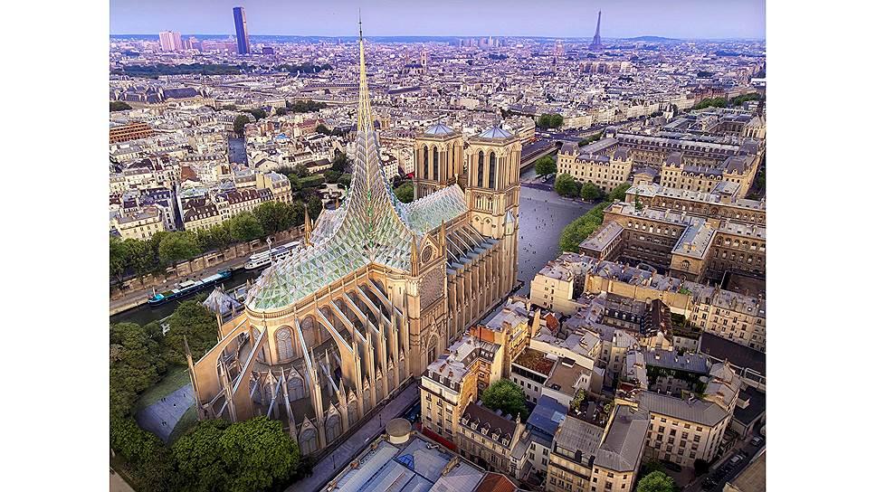 Проект бюро Vincent Callebaut Architectures называется «Палингенезис» («преобразование» или «новое рождение») и предполагает, что новая крыша будет вырабатывать тепло, электричество и энергию для вентиляции собора