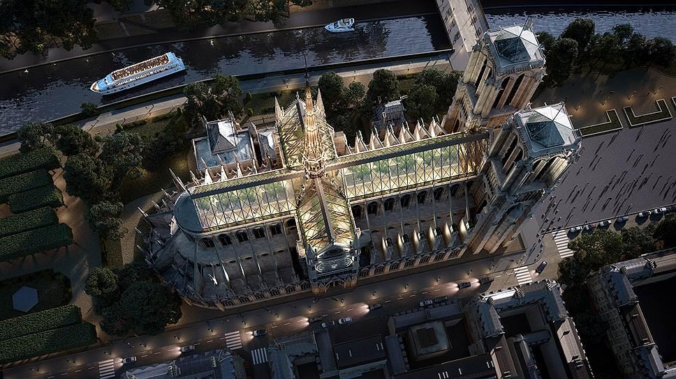Бельгийская студия дизайна Miysis предлагает разбить на крыше собора сад