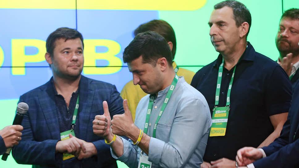 Владимир Зеленский в штабе партии «Слуга народа» после оглашения первых результатов экзитполов в ходе досрочных выборов в Верховную раду Украины