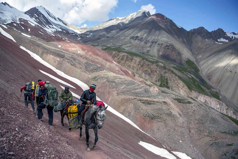 Грузы в высотные лагеря альпинистов доставляют на лошадях