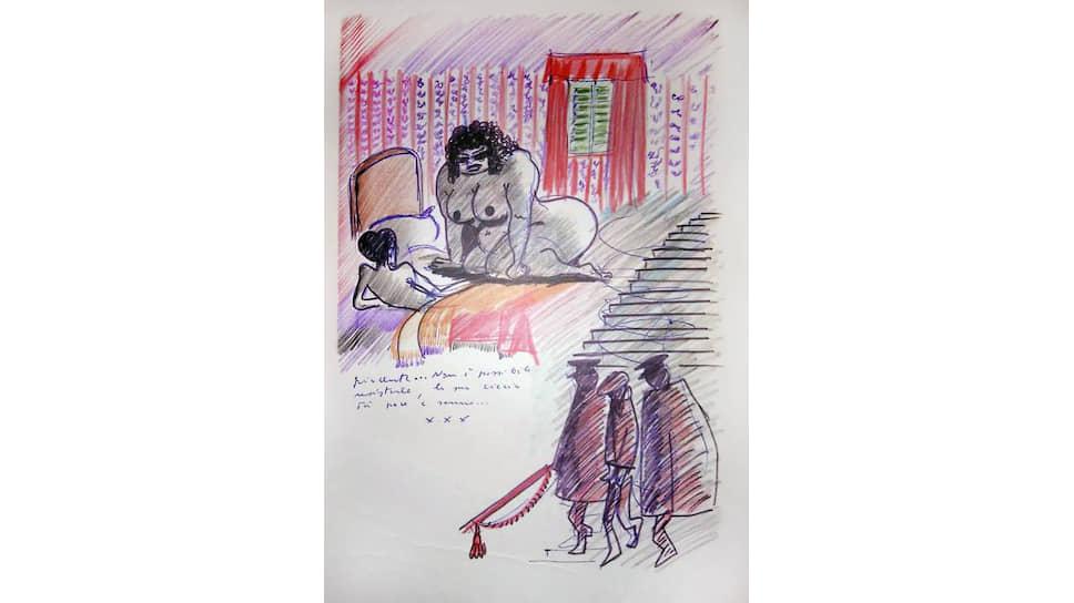 Страница из «Книги снов» с рисунками и записями мастера