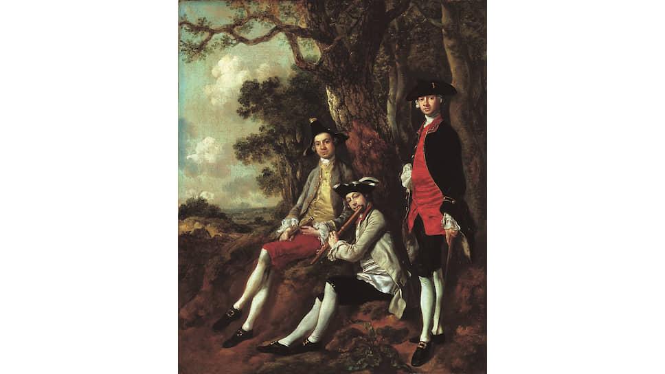 «Портрет Питера Дарнелла Милмена, Чарльза Крокатта и Уильяма Кибла на фоне пейзажа». Около 1750 года