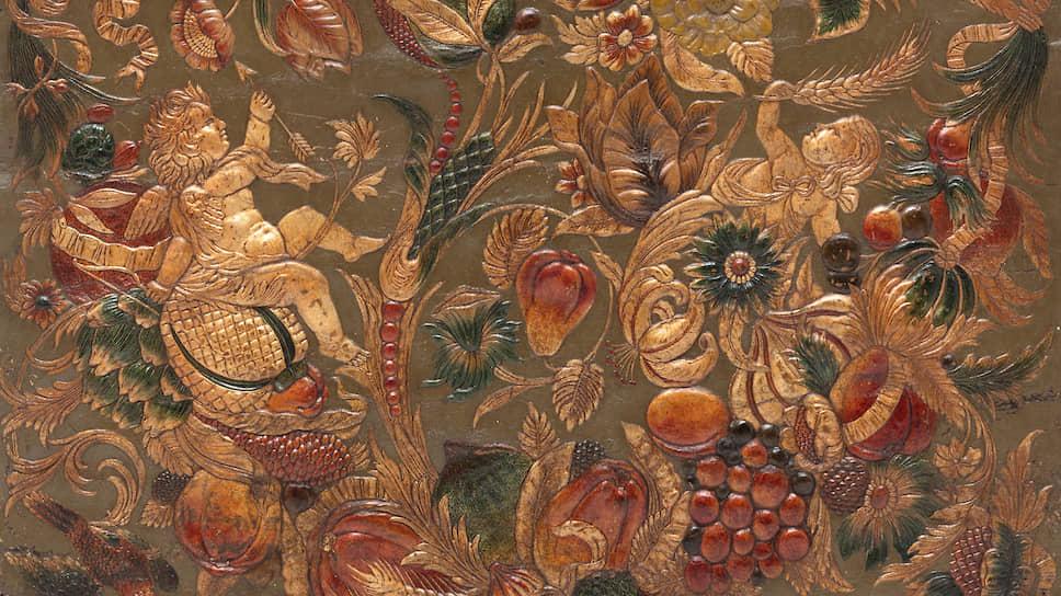 Фрагмент кожаных обоев, XIX век
