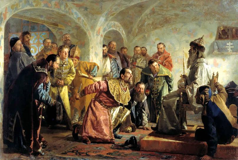 На картине Николая Неврева «Опричники» изображено убийство боярина Ивана Федорова: Грозный усадил его на свой трон, воздал почести, а потом всадил нож в сердце