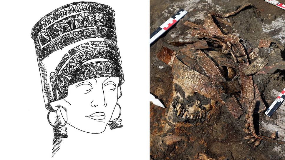 Слева: золотое украшение на голове женщины — признак знатного положения. Справа: скифский золотой калаф — прообраз кокошника. Реконструкция
