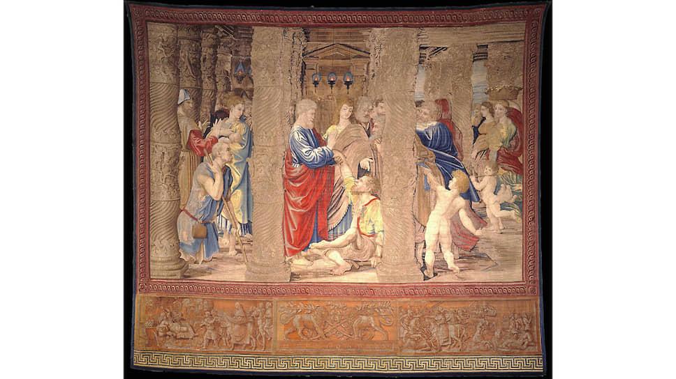 Один из гобеленов, сделанный по эскизам Рафаэля, в  Сикстинской капелле