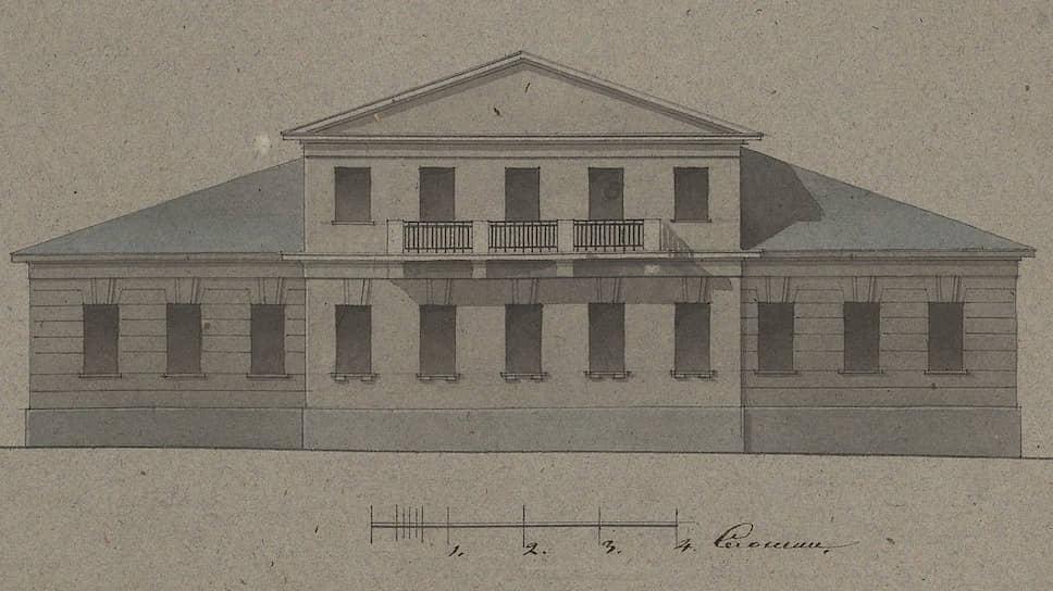 Фасад дома Римских-Корсаковых на Остоженке в 1836 году. Архивный чертеж