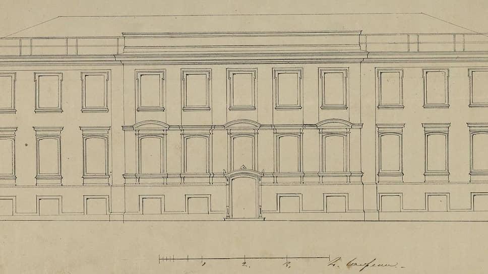Дом №4 по Остоженке в 1860 году. Таким застал его Петр Чайковский. Архивный чертеж