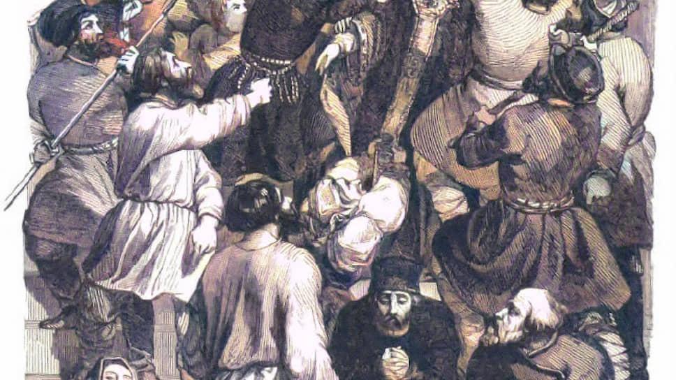 Убийство митрополита Амвросия — священнослужителя обвинили в покушении на святыню за санитарные меры в разгар эпидемии. Рисунок Шарля Мишеля Жоффруа, 1845 год