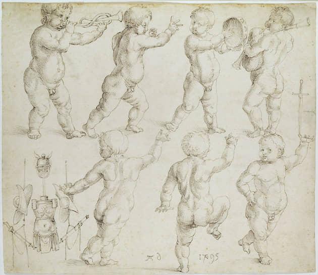 Альбрехт Дюрер. «Танцующие и музицирующие путти с античным трофеем». 1495 год